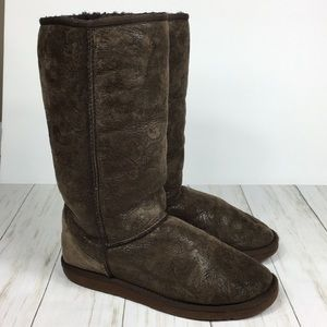 UGG Tall Brown Paisley Print Boots Size 9